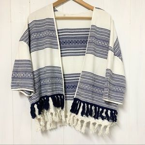 Blue and White Tassle Fringe Embroidered Top